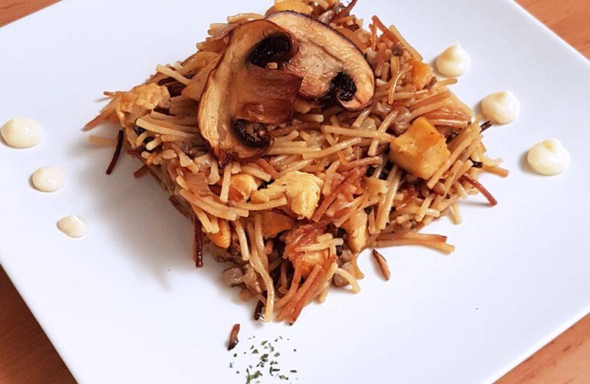 Receta de Fideuá de pollo y champiñón